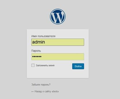 Скриншот формы аутентификации для входа в админку сайта