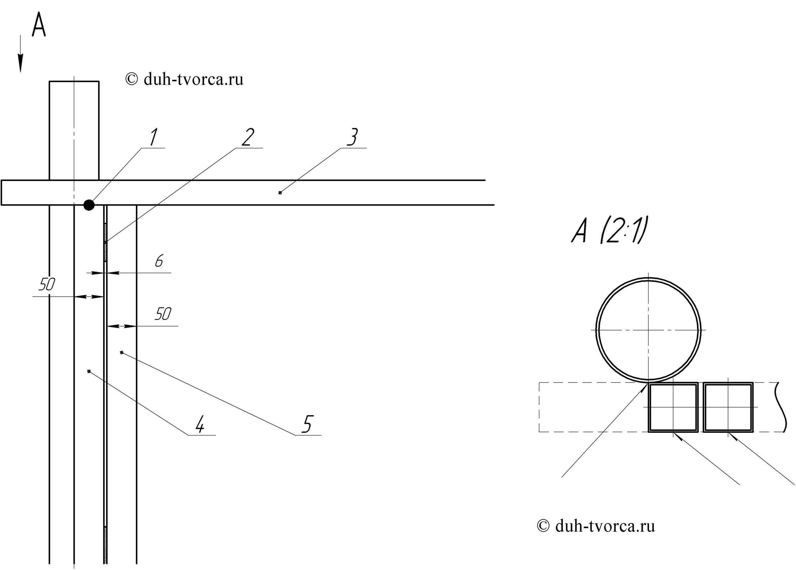 1 - место прихватки, 2 - фанерная прокладка, 3 - направляющий профиль, 4 - вертикальная крайняя стойка, 5 - смежная вертикальная стойка.