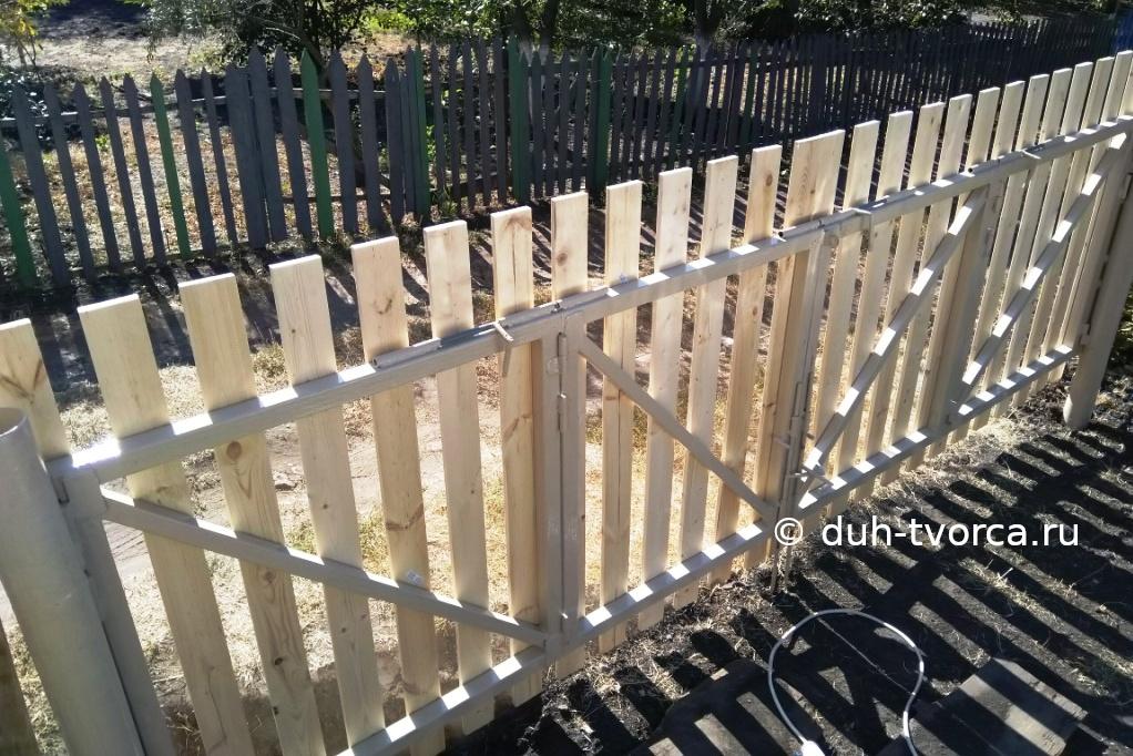 Ворота четырёхстворчатые вид изнутри